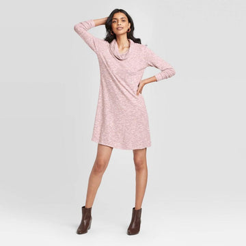 Women's Long Sleeve Cozy Cowl Neck Sweater Dress - Knox Rose - Rose