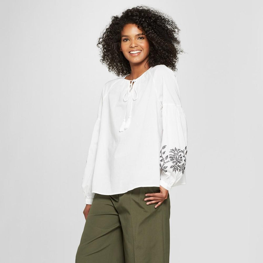 Women's Long Sleeve Embroidered Blouse - Who What Wear - White