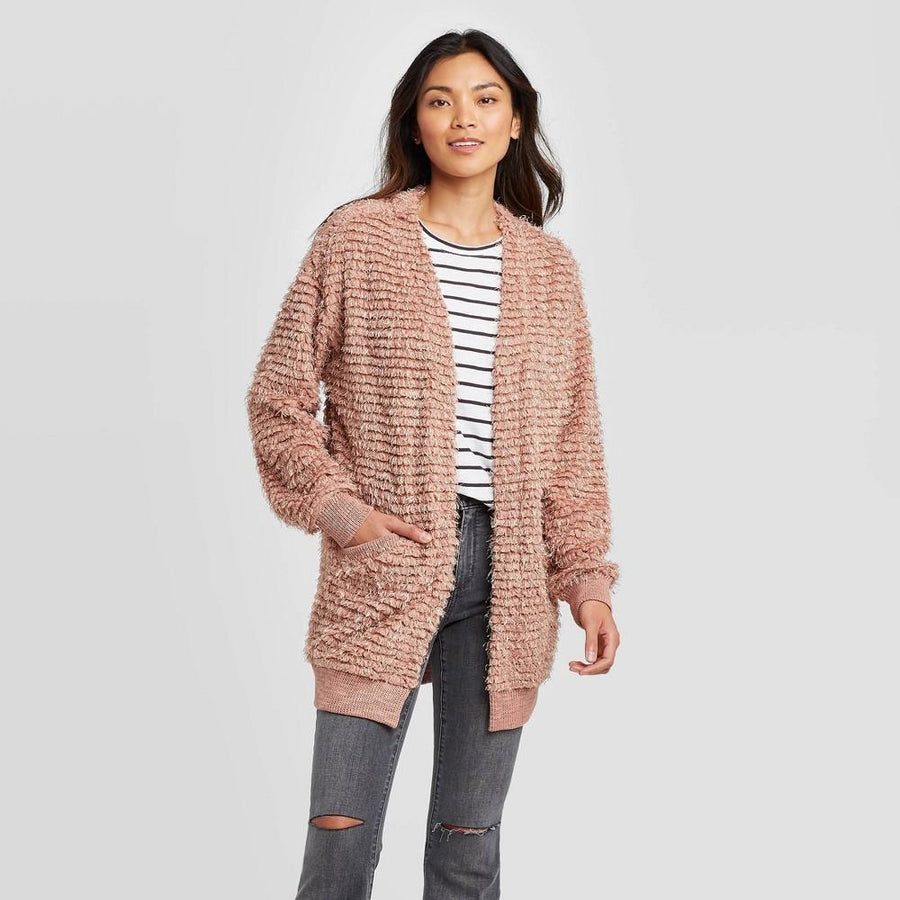 Women's Long Sleeve Novelty Open Cardigan - Knox Rose - Pink