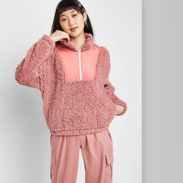 Long Sleeve Quarter Zip Pullover Sherpa Jacket - Wild Fable - Rose