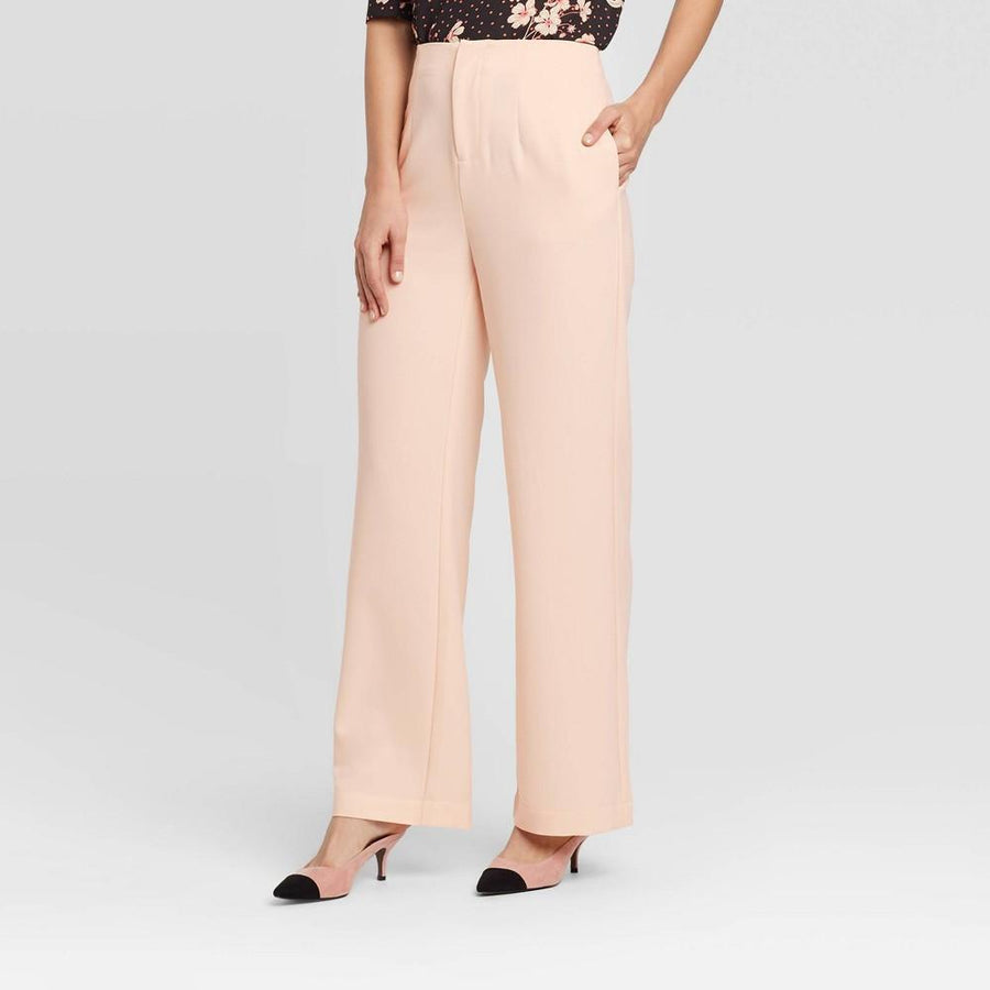 Women's Mid-Rise Silky Wide Leg Pull-On Pants - Who What Wear - Blush