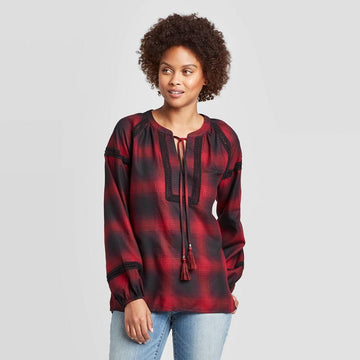 Women's Plaid Long Sleeve Crewneck Blouse - Knox Rose - Red
