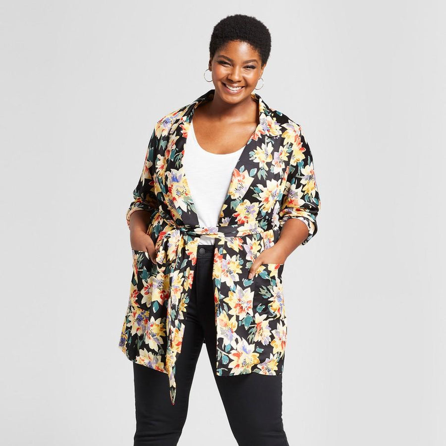Ava and Viv Women's Plus Size Floral Print Blazer