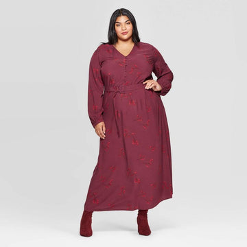 Women's Plus Size Floral Print Long Sleeve V-Neck Button-Front Maxi Dress - Ava & Viv
