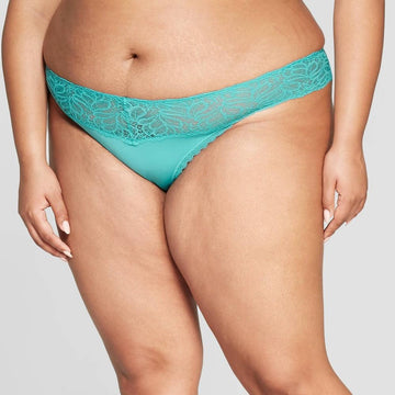 Women's Plus Size Micro Thong with Lace Waistband - Auden Dapper Turquoise