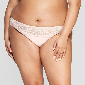 Women's Plus Size Micro Thong with Lace Waistband - Auden Soft Petal Pink