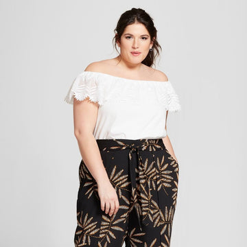 Women's Plus Size Printed Cropped Wrap Pants - A New Day - Black