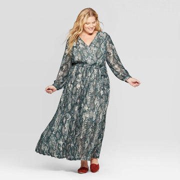 Women's Plus Size Snake Print Long Sleeve V-Neck Pleated Chiffon Wrap Maxi Dress