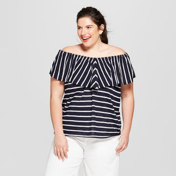 Women's Striped Off the Shoulder Flounce Knit Sleeveless Top Ava & Viv