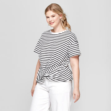 Women's Plus Size Striped Short Sleeve Twist Front with Ruched Back T-Shirt