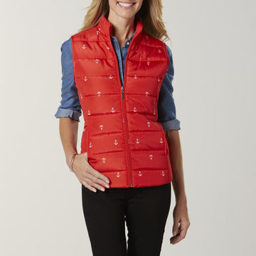 Women's Puffer Vest - Anchors