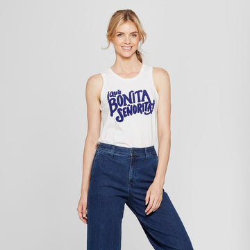 Women's Que Bonita Senorita Graphic Cotton Tank Top - A New Day White/Blue