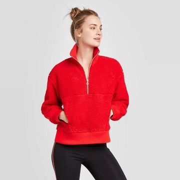 Women's Sherpa Pullover - JoyLab - Bright Red