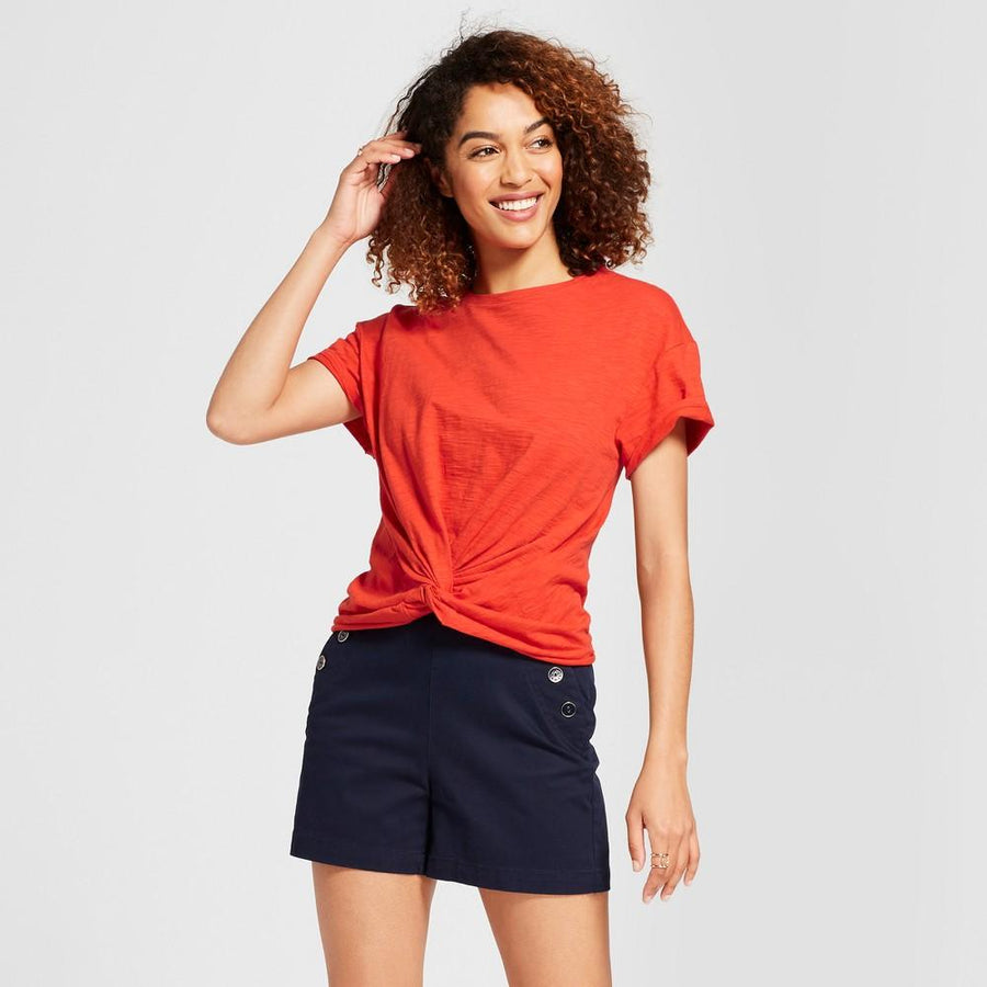 A New Day Women's Short Sleeve Twist Front with Ruched Back T-Shirt