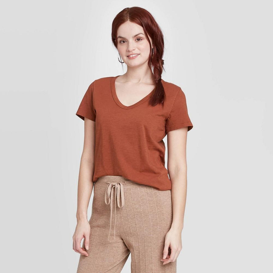 Women's Short Sleeve V-Neck T-Shirt - Universal Thread Brown