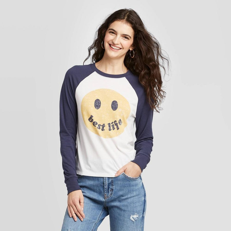 Women's Smiley Face Best Life Long Sleeve Graphic T-Shirt - Zoe+Liv (Juniors')