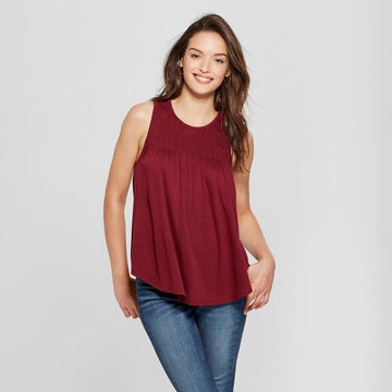 Women's Smocked Tank Top - Universal Thread Red