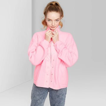 Women's Snap Up Sherpa Jacket - Wild Fable Pink