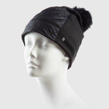 Women's Solid Stretch Quilted Beanie Front Hats  C9 Champion