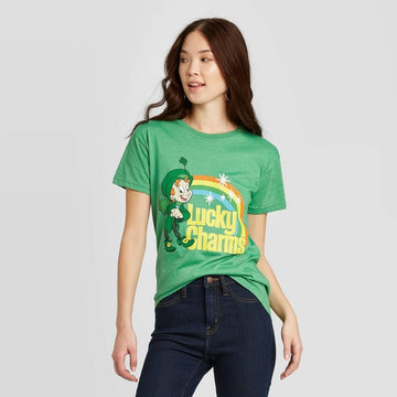 Women's St. Patrick's Day General Mills Lucky Charm Short Sleeve Graphic T-Shirt (Juniors)
