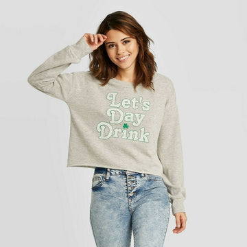 Women's St. Patrick's Day Lets Day Drink Cropped Sweatshirt - Grayson Threads
