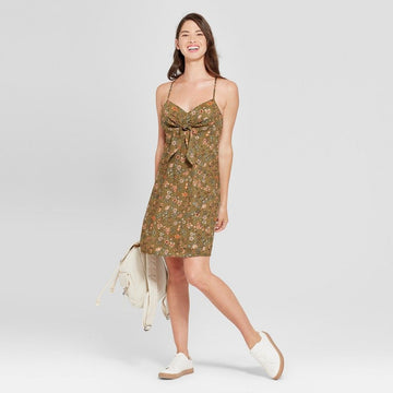 Women's Strappy Tie Front Fit and Flare Dress - Xhilaration Truly Olive