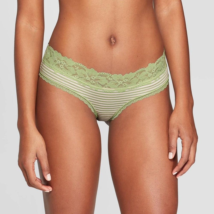 Women's Striped Cotton Cheeky with Lace Waistband - Auden Kiwi/Pink
