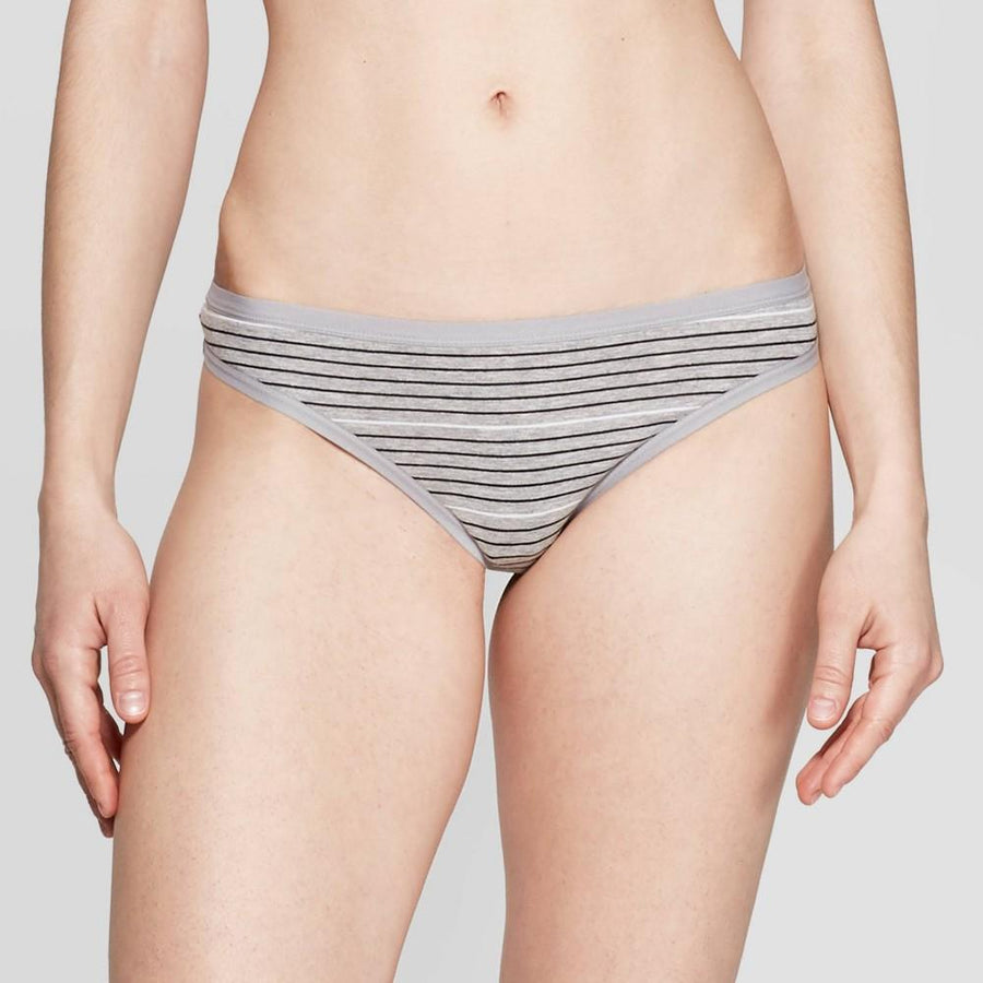 Women's Striped Cotton Thong - Auden Heather Gray/White Stripe