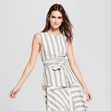Who What Wear Women's Striped Sleeveless Tie Front Button-Up Shirt