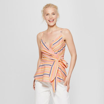 Women's Striped Wrap Tank - A New Day - Yellow/Striped