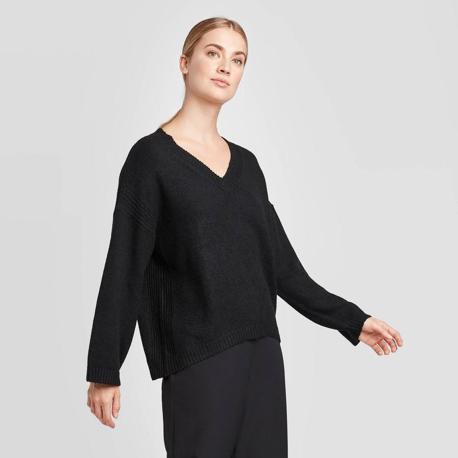 Women's V-Neck Pullover Sweater - Prologue Black