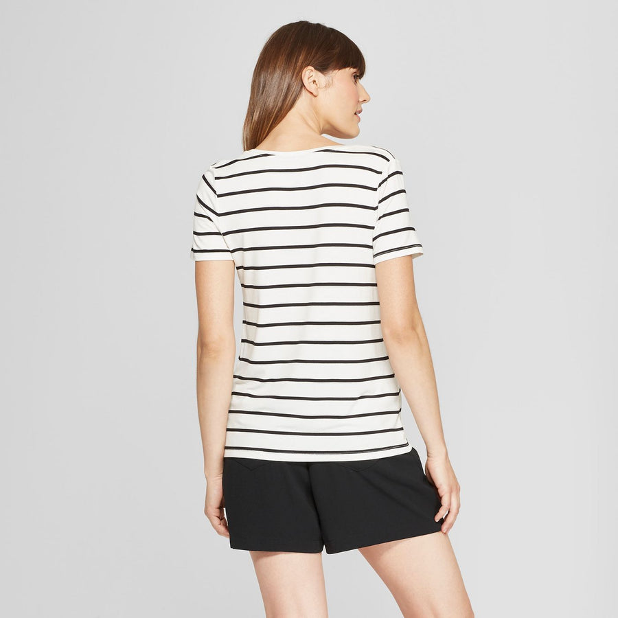 Women's Any Day Striped Short Sleeve Scoop T-Shirt - A New Day White/Black