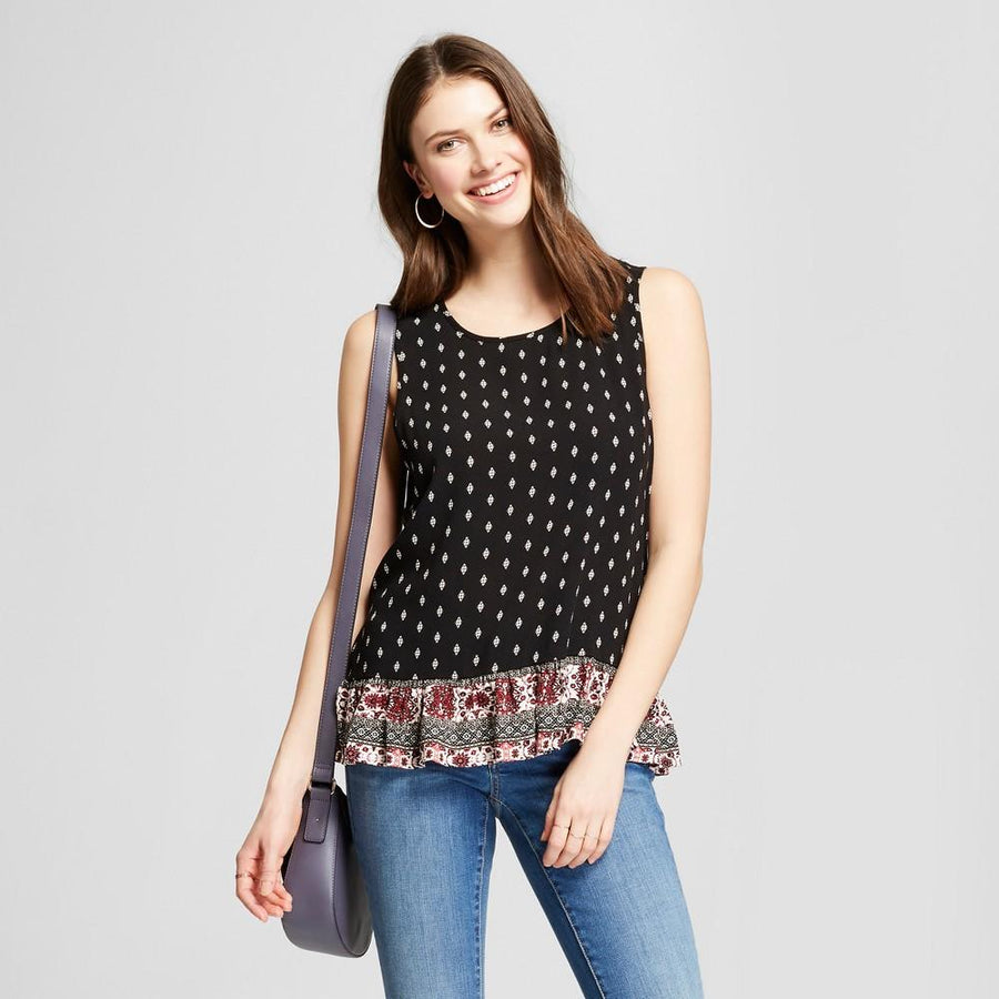 Women's Border Print Ruffle Tank - Knox Rose Black Print