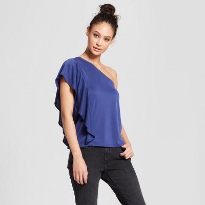 Women's One Shoulder Ruffle Top - Mossimo