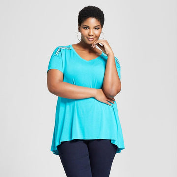 Women's Plus Size Embroidered Shoulder Short Sleeve T-Shirt - Ava&Viv