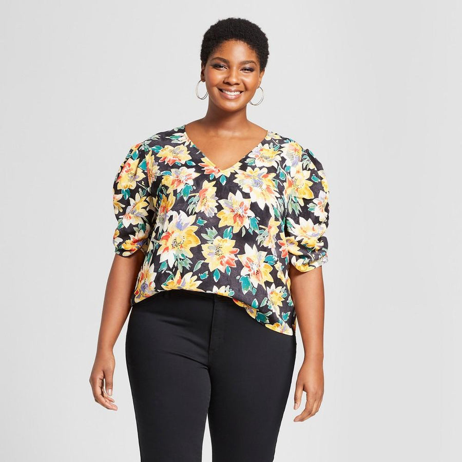 Women's Plus Size Floral Print Pleated Short Sleeve Top - Ava & Viv Black/Yellow