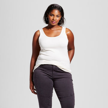 Women's Plus Size Perfect Tank - Ava & Viv - Shell