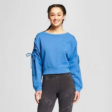 Women's Ruched Tie Sleeve Pullover Sweatshirt - Mossimo - Blue