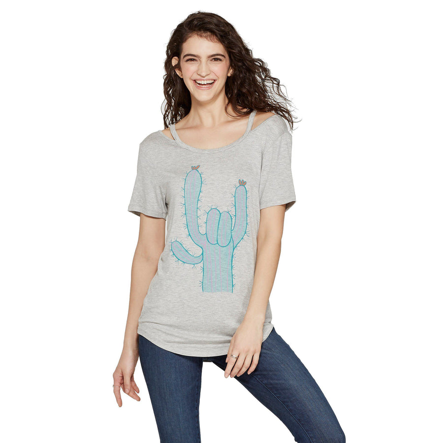 Women's Short Sleeve Cactus Rock & Roll Clavicle