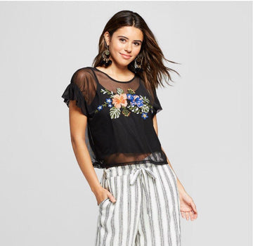 Women's Short Sleeve Embroidered Mesh Top  (Juniors)