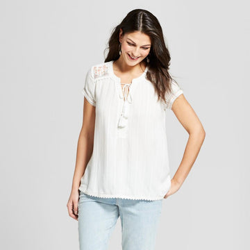Women's Short Sleeve Embroidered Textured Top - Knox Rose White