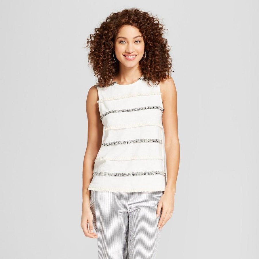Women's Striped Fringe Tank - A New Day Cream