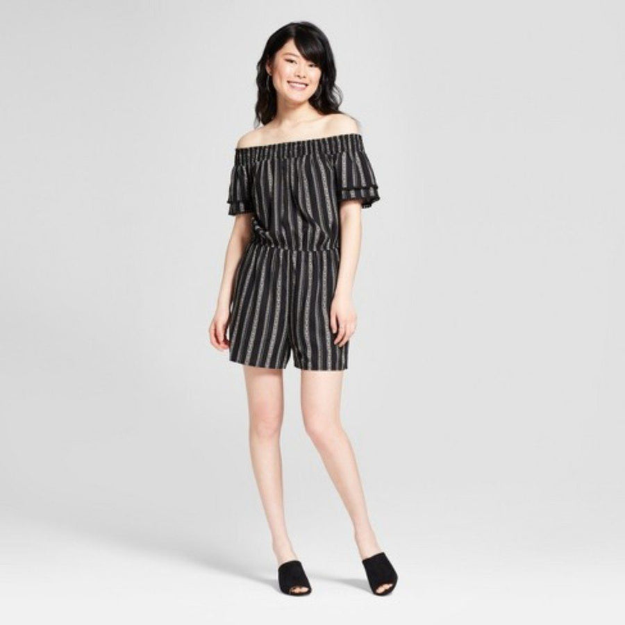 Women's Striped Short Sleeve Off the Shoulder Tier Xhilaration