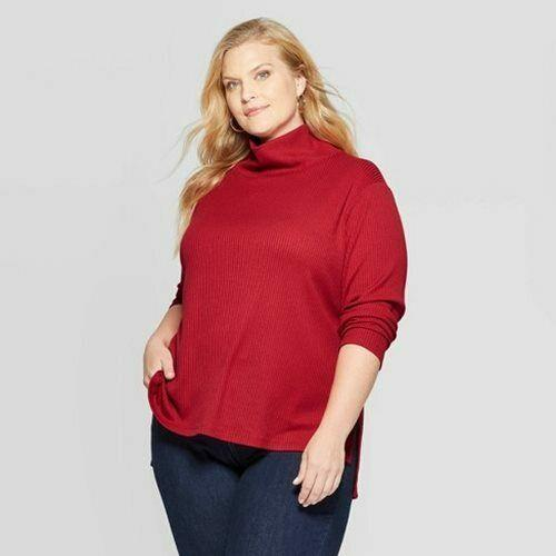 Women Plus Size Long Sleeve Mock Turtleneck Pullover Sweater Ava & Viv