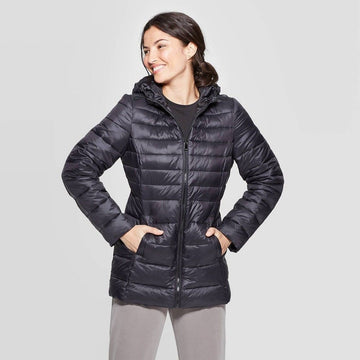 Womens Lightweight Puffer Jacket - A New Day Black