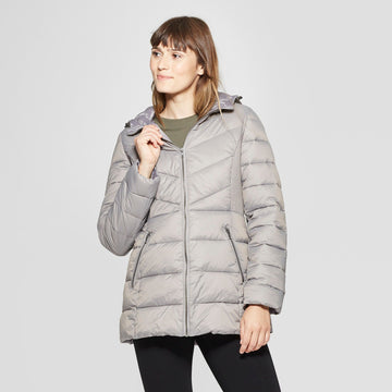 Womens Lightweight Puffer Jacket - A New Day gray