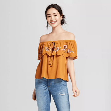 Women's Short Sleeve Flounce Embroidered Top - Xhilaration
