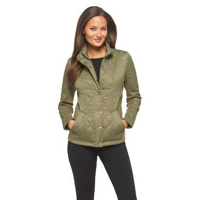 Womens Universal Threads Quilted Faux Fur Hooded Jacket Green