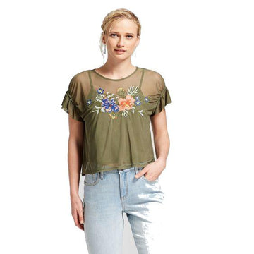 Women's Short Sleeve Embroidered Mesh Top - Xhilaration - Olive