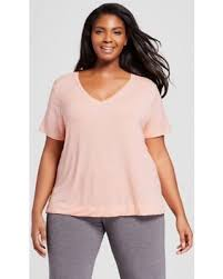 Women's Plus Size V-Neck Short Sleeve T-Shirt  Ava & Viv - Peach